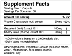 Nutrtitional Facts for Acerola C Plus by Whole-istic Solutions