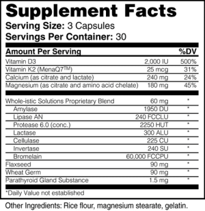 Nutrtitional Facts for Calcium Plus by Whole-istic Solutions